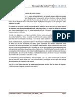 Message Du Mali, Novembre 2014