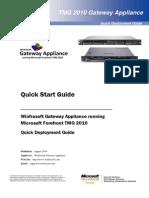 Winfrasoft TMG Gateway Appliance Quick Start Guide 1.1