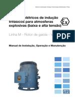 WEG Motores Eletricos de Inducao Trifasicos Para Atmosferas Explosivas Baixa e Alta Tensao Linha m Rotor de Gaiola Vertical 12352467 Manual Portugues Br
