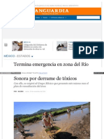 04-11-14 Termina emergencia en zona del Río Sonora por derrame de tóxicos