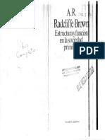 Radcliffe Brown - Estructura Y Funcion en La Sociedad Primitiva