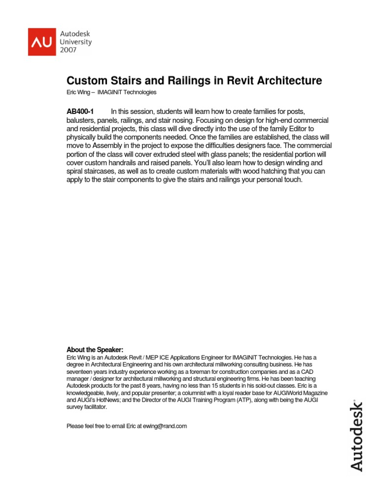 Custom Stairs and Railings in Revit Architecture | Stairs