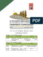 Programación Oficial XV Encuentro Iberoamericana de Cementerios Patrimoniales
