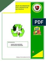 Plan de Manejo de Residuos Sólidos en El Distrito de Pueblo Nuevo