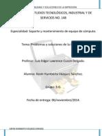 Problemas y Soluciones de La Impresora.