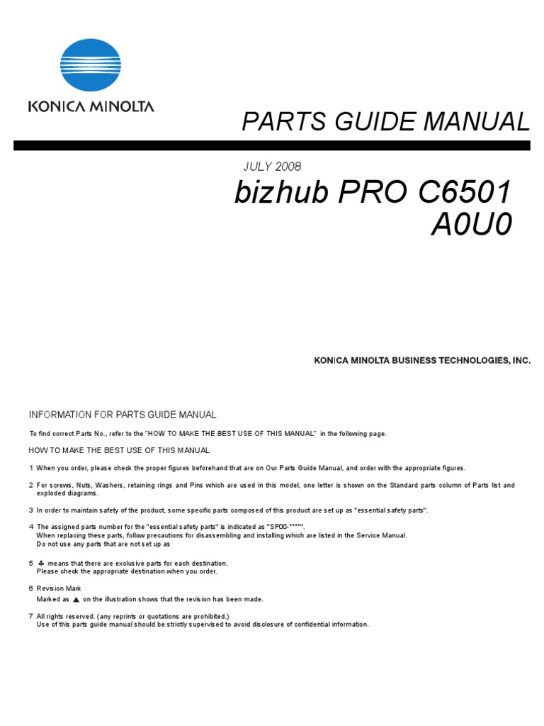 Konica minolta c6501 parts guide manual fandeluxe Image collections