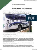 Las Farc Incomunicaron Al Sur Del Tolima