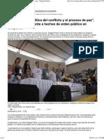 _Es Parte de La Política Del Conflicto y El Proceso de Paz_, Delgado Peñón Frente a Hechos de Orden Público en Chaparral