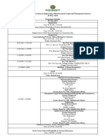 Programme Schedule, Conference, 30th May 2014