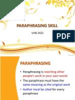 Paraphrasing Skill