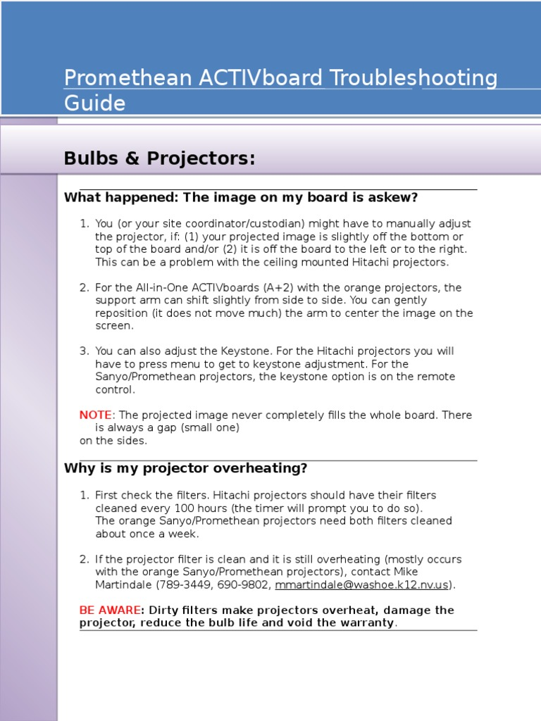 Promethean ACTIVboard Troubleshooting Guide   Computer File