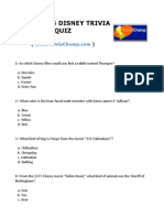 Childrens Disney Trivia Quiz