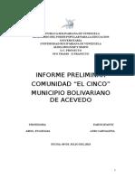 Informe Preliminar Comunidad El Cinco