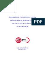 Informe de FETE-UGT Sobre El Proyecto de Presupuestos Educativos Estatales Para El Año 2015