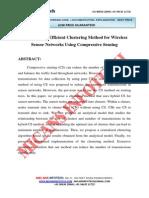 Transmission Efficient Clustering Method for Wireless Sensor Networks Using Compressive Sensing- IEEE Project 2014-2015