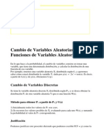 Cambio de Variables Estadisticas