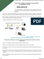 Configurar e Habilitar o Recurso WDS Nos Aparelhos TP-Link