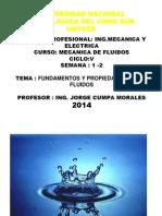 UNTECS MECANICA DE FLUIDOS  2014-0 SEMANA 1 Y 2.ppt