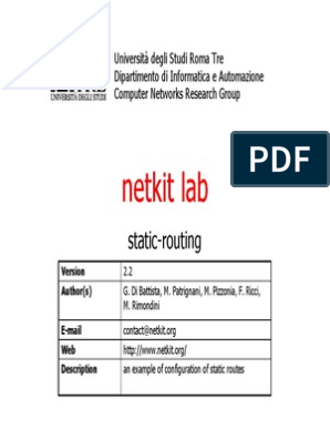 Netkit Lab Static Routing   Routing   Internet Architecture