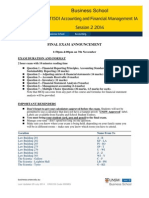 ACCT1501 2014S2 Final Exam Announcement