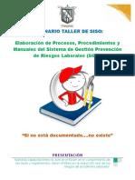 Seminario Taller Elaboración de Procesos, Procedimientos y Manuales Del Sistema de Gestión SGP