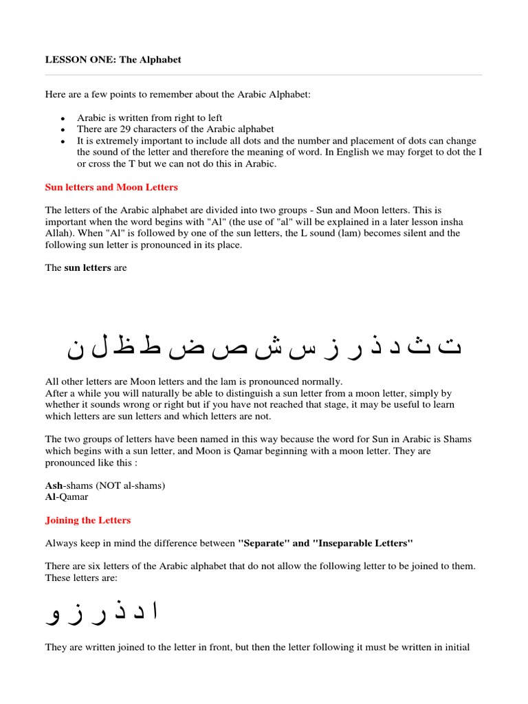 lessons-one-to-ten-from-ummah pdf | Adjective | Subject