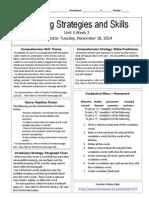u3w2 reading skills and strategies