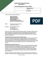 California Department of Human Resources Ebola memo