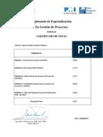 Certificado de Notas - Gestión de Proyectos