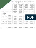 Horario de Clases de Noveno y Décimo Año de Educación Básica General