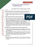 RESUMEN EJECUTIVO DE LA EJECUCIÓN DE INVERSIÓN EN LOS AÑOS 2012 – 2013