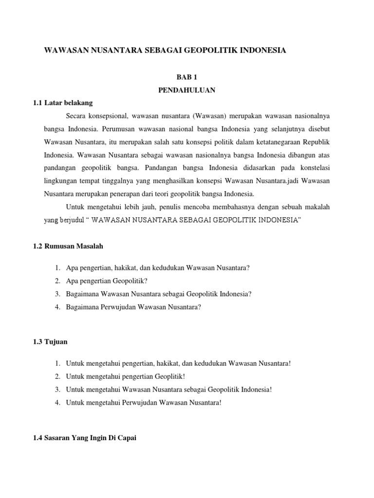 Wawasan Nusantara Sebagai Geopolitik Indonesia Docx