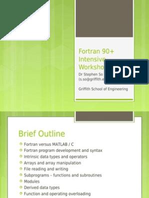 Fortran Workshop   Subroutine   Parameter (Computer Programming)