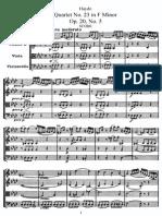 Haydn String Quartet No 23 in F Minor Op20 No5 Score