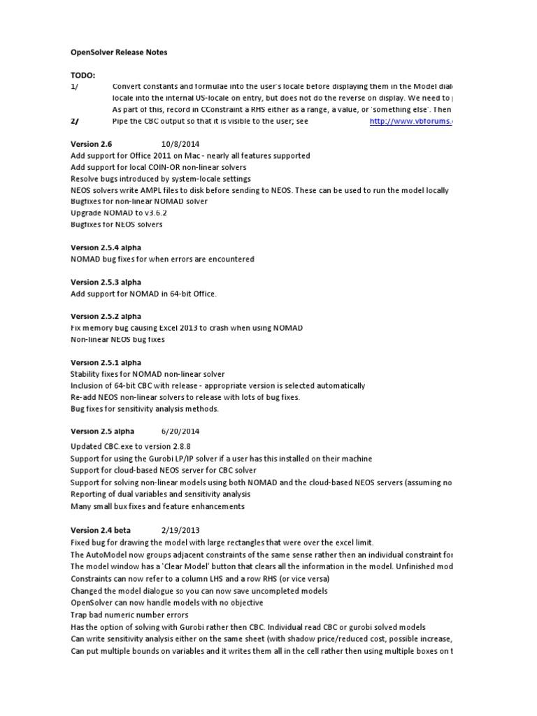 OpenSolver ChangeLog | Microsoft Excel | Software Testing