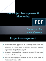 Erp project management and monitoring
