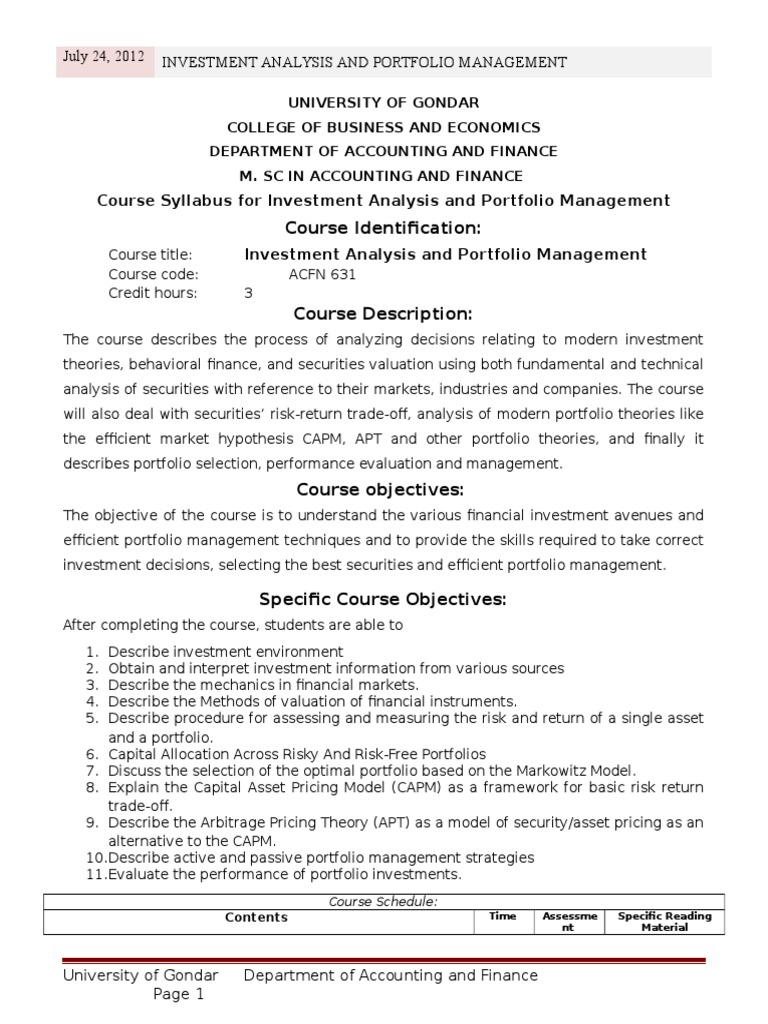 Investment and portfolio management course syllabus l g cofunds pension and investments