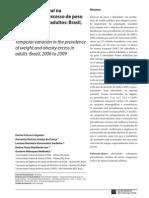 Variação Temporal Na Prevalência de Excesso de Peso e Obesidade Em Adultos - Brasil, 2006 a 2009