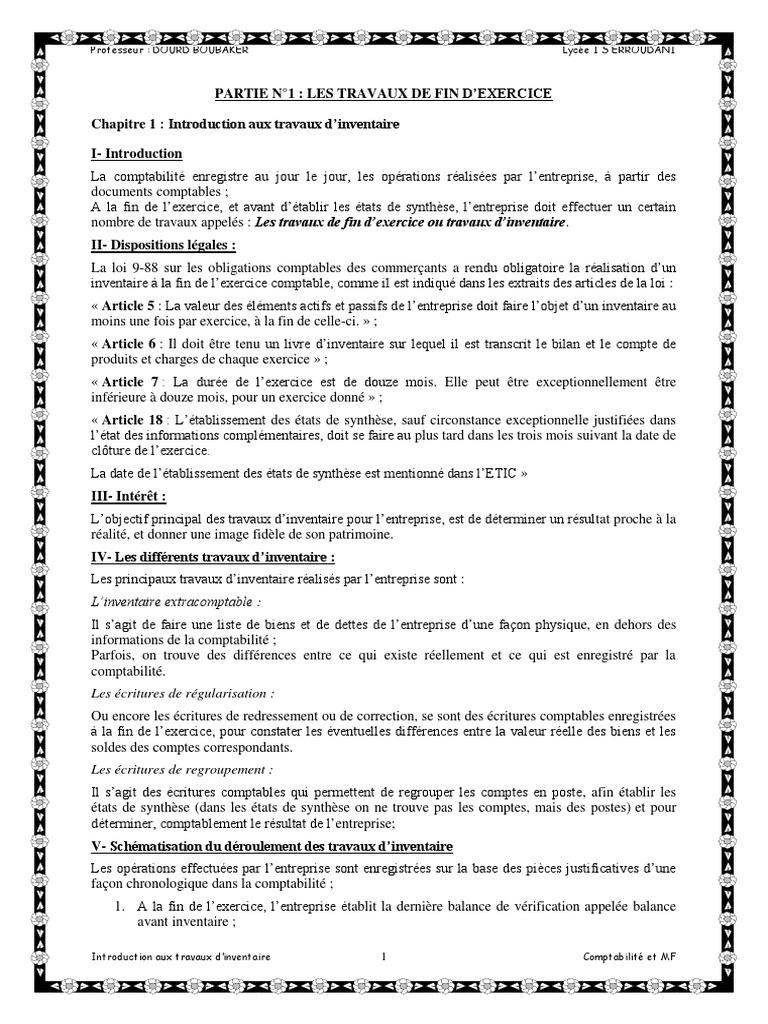 PARTIE N°1 LES TRAVAUX DE FIN D'EXERCICE | Comptabilité ...