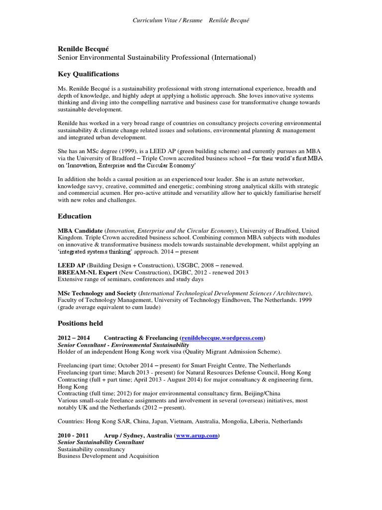 CV International Sustainability Professional - Integrated Systems ...