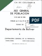 Censo Departamento de Bolivar 1938