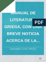 Manual de Literatura Griego. Salvador Constanzo. 1860
