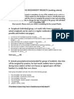 biodiversity project marking criteria