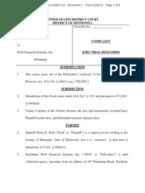 Pratt v NCO Financial Systems FDCPA Complaint Minnesota