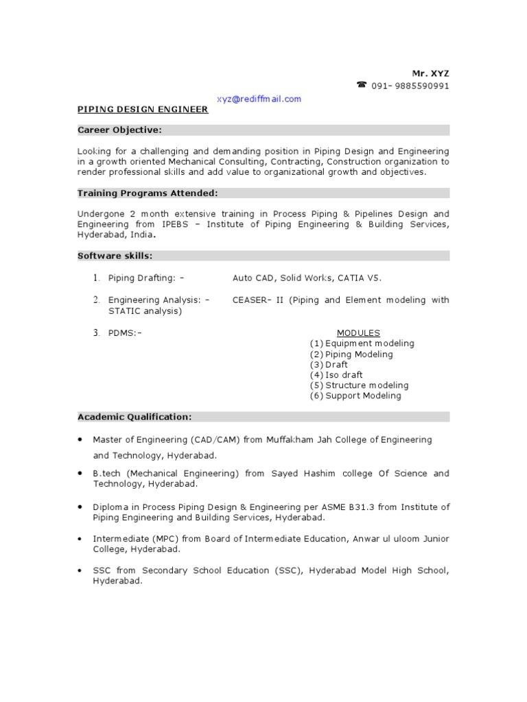 Sample Piping Design Engineer Resume | Pipe (Fluid Conveyance) | Engineering  Design Engineer Resume