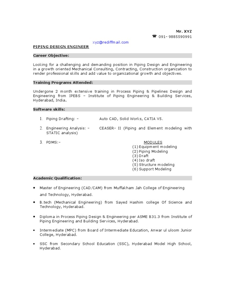 Sample Piping Design Engineer Resume Pipe Fluid Conveyance Mechanical Engineering