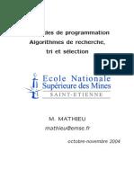 M´ethodes de programmation Algorithmes de recherche, tri et s´election