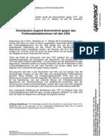 Presseerklärung Vom 06.11.2014 Greenpeace-Jugend Demonstriert Gegen Das Freihandelsabkommen Mit Den USA