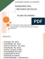Plano de Ensino Mecânica dos solos UNIR Engenharia Civil