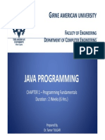 Chapter 1 - JAVA Programming Fundamentals